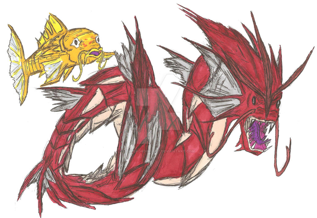 Shiny Magikarp and Gyarados Realistic by EmperorDinobot