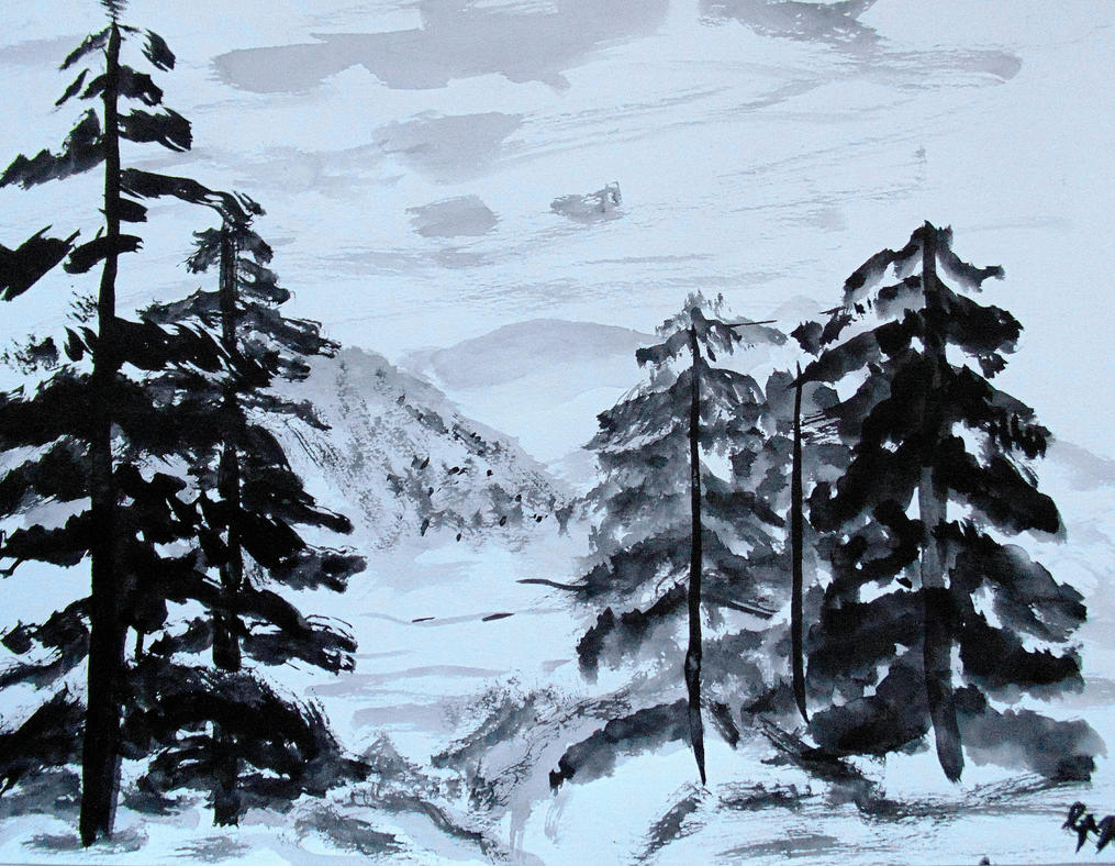 mountain landscape sumi e painting study by ren ou on deviantart