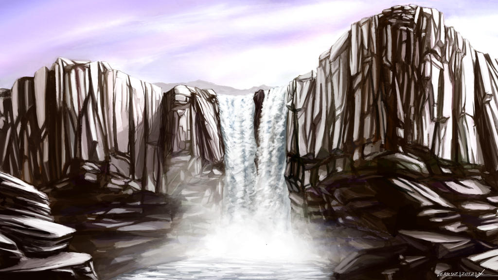 Environment 022 large waterfall by rynkadraws on deviantart for Waterfall environment