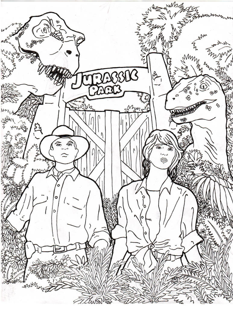 Jurassic park by rennox on deviantart for Jurassic park coloring page