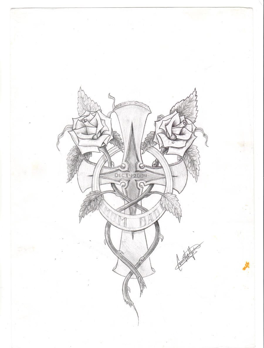 Cross tattoo two roses by Massermane on DeviantArt