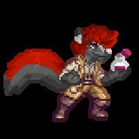 Red the Alchemist (Pixel Commission) by MalDrawsStuff