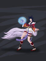 Ahri, The Nine-tailed Fox (But with Face) by Casinoira