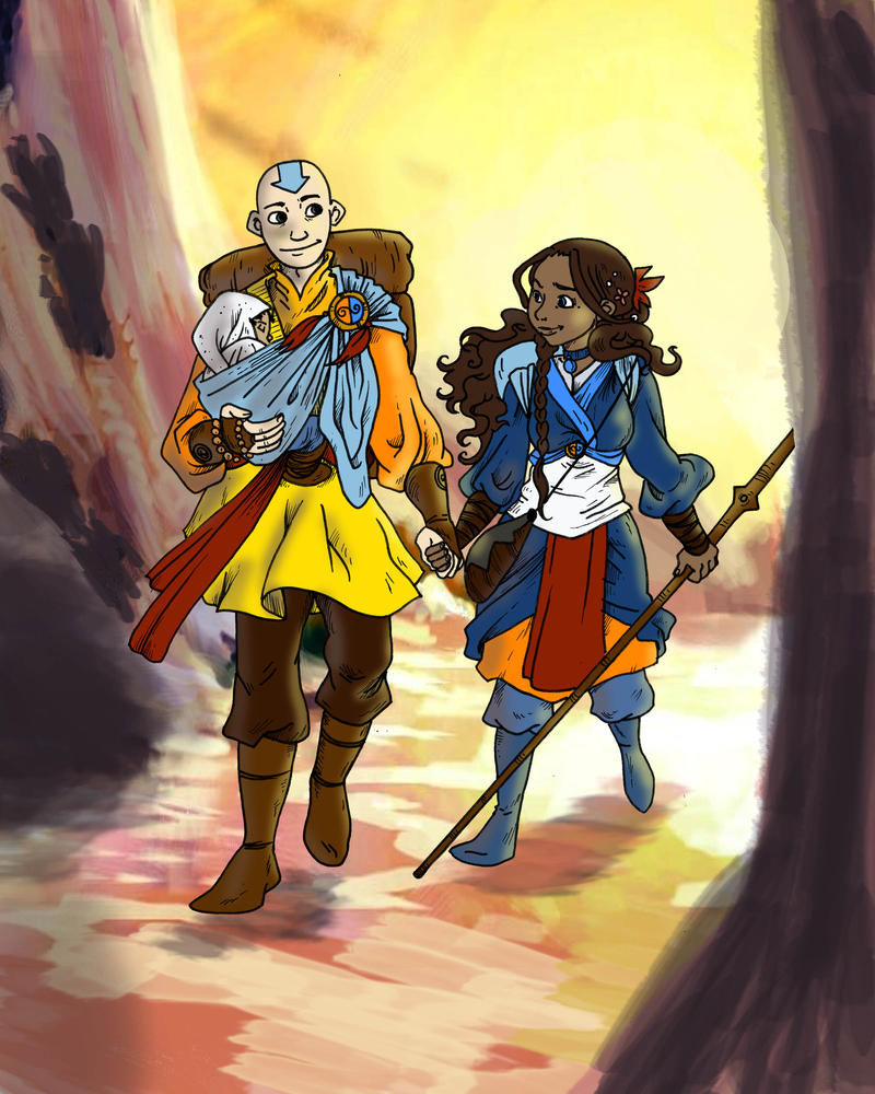 Nomads - Aang and Katara by secondlina
