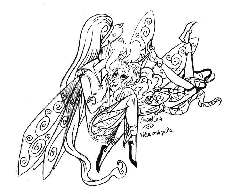 Disney fairies vidia n 39 prilla by secondlina on deviantart for Vidia fairy coloring pages