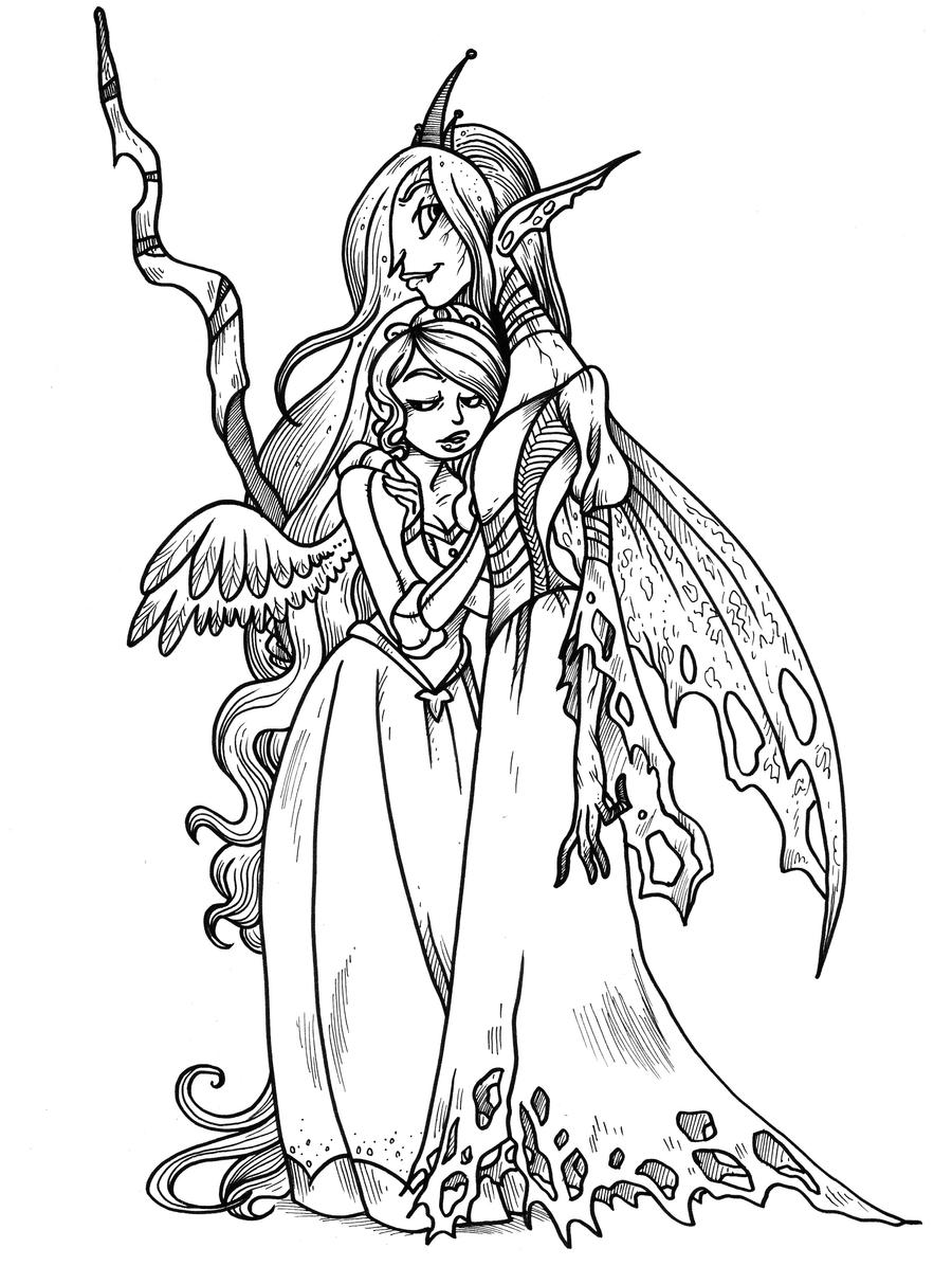 queen chrysalis coloring pages - mlp chrysalis and cadence by secondlina on deviantart