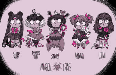 Burtonized Magical girls