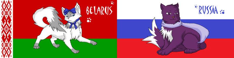 Nekotalia: Belarus and Russia (flags) by Marshcold