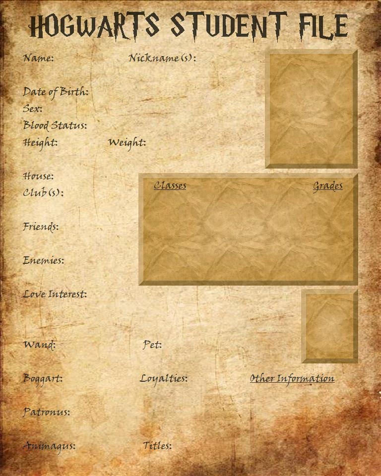 Hogwarts Student File - BLANK by HopeAndHeartache on DeviantArt