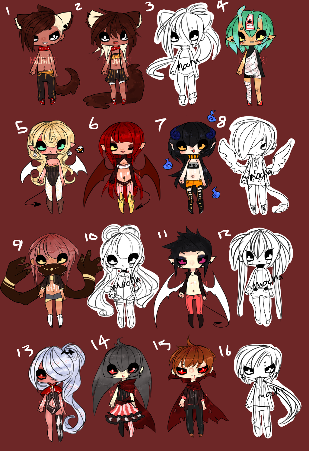 Halloween Chibis Batch! -CLOSED- by MochaTart