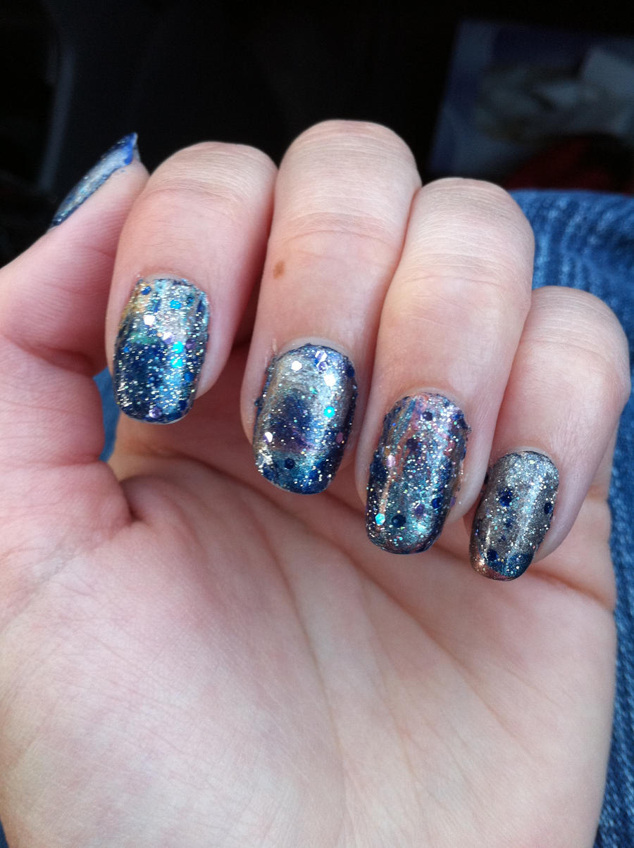 Space nails left hand by taravl on deviantart for Outer space nail design