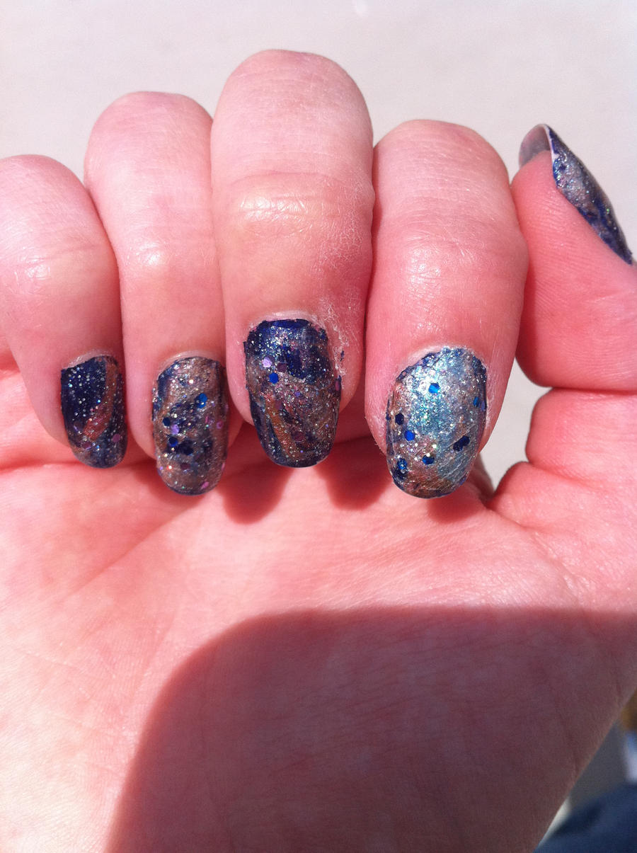 Space nails right hand by taravl on deviantart for Outer space nail design