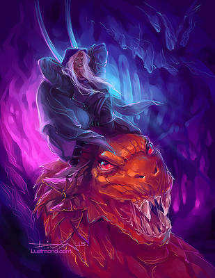 Drizzt Do'Urden and Basilisk by CurlyJul