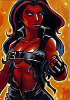 Red She Hulk Sketch Card by MasonEasley