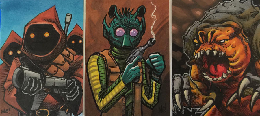 Various Star Wars Sketch Cards by MasonEasley