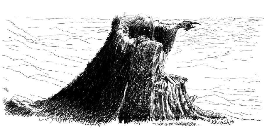Hurin on top Thangorodrim by Rzenio