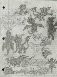 Spyro the Dragon Concept Sketch Fan Art by Taqresu650