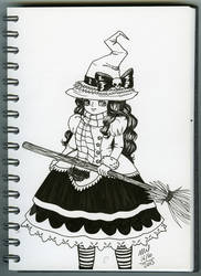 Inktober 16 Witch by honeymil