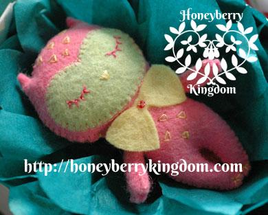 One of a kind owl felt plush by honeymil
