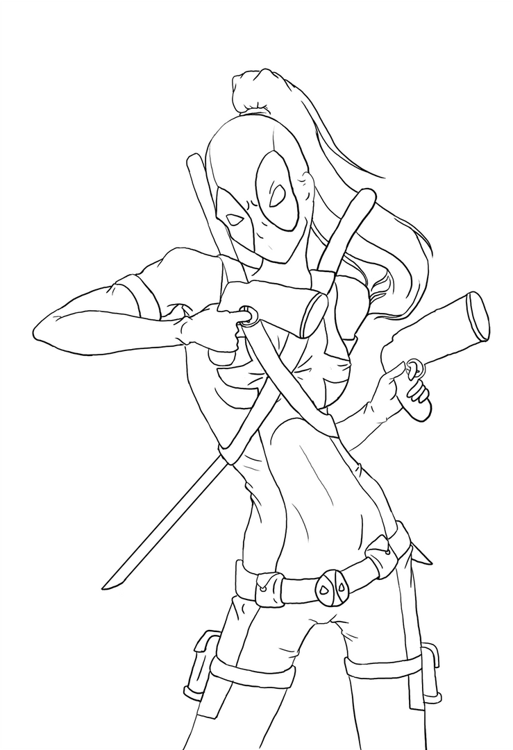 Line Drawing Lady : Lady deadpool outlines by shortfocus on deviantart