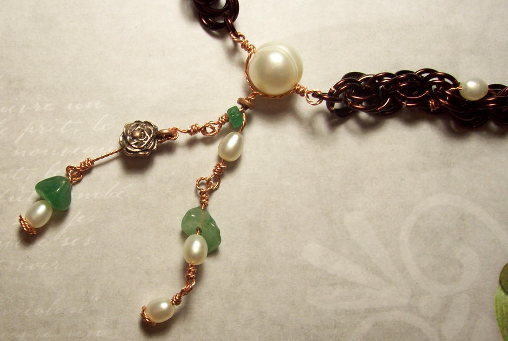 Spiral pearl and jade necklace close up by tehhonya on for Pearl arts and crafts closing
