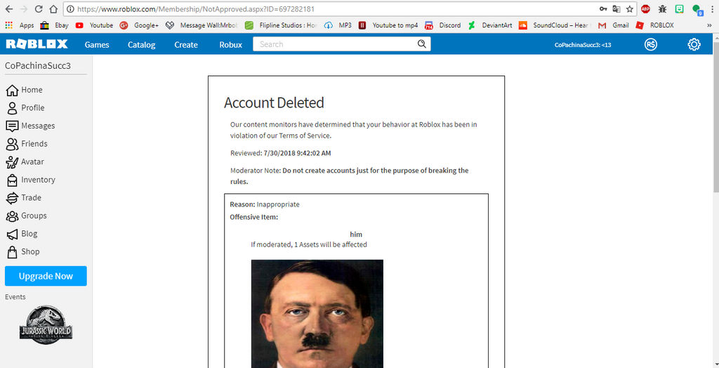Roblox Ban Rules Hilarious Roblox Ban 1 By Frenchfryalexdeviant On Deviantart