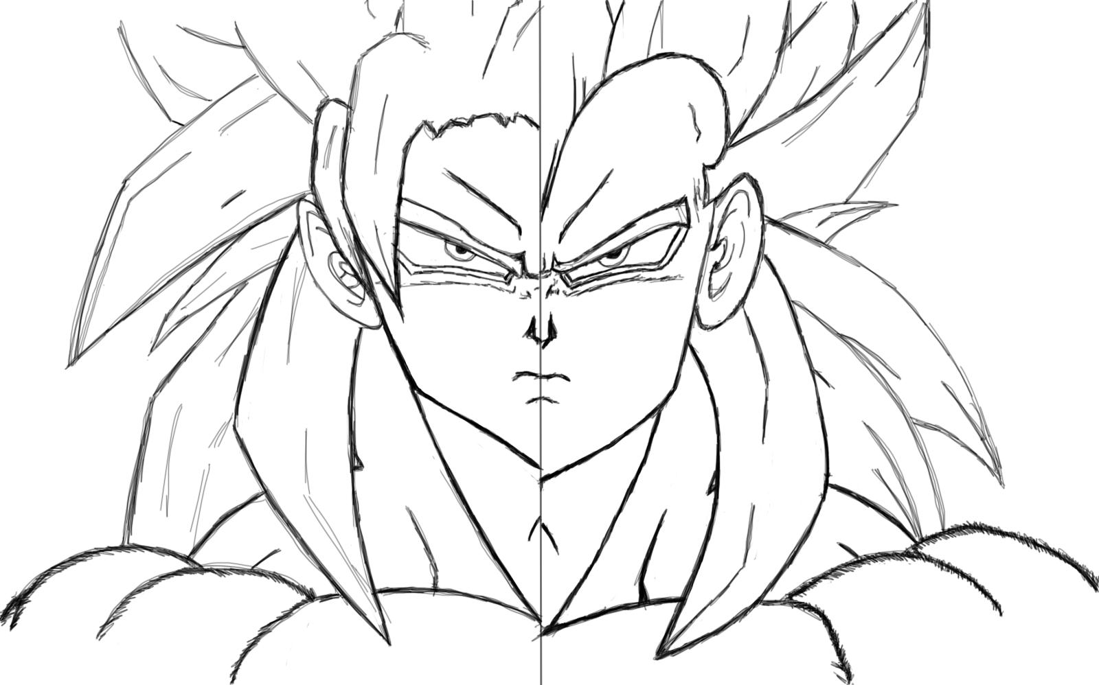 Vegeta Para Colorear Baby Para Goku Y Vegeta Para Pintar: Goku Vegeta Ssj4 Outline By NightmareItachi On DeviantArt