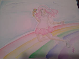 rainbow watercolor girl