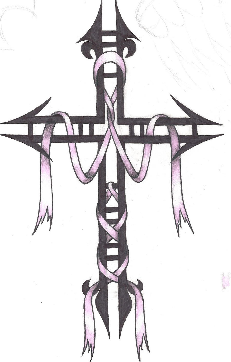 cancer ribbon cross by heavymetalhitter on deviantart. Black Bedroom Furniture Sets. Home Design Ideas