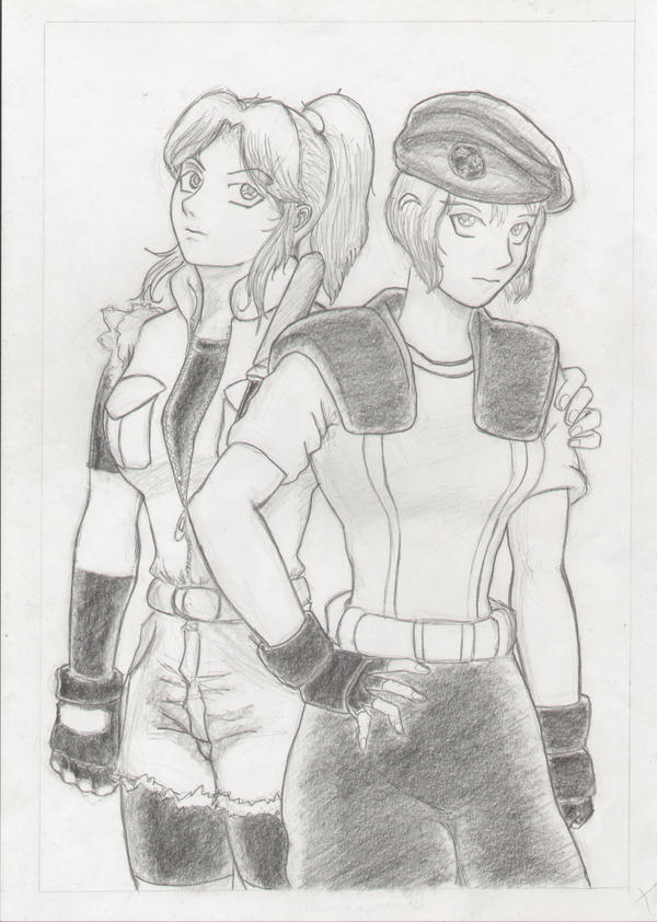 Claire and Jill by StriderSoryu