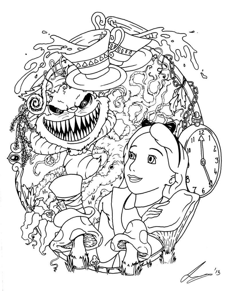 Tattoo Line Drawing Books : Alice in wonderland tattoo flash by acidic on deviantart