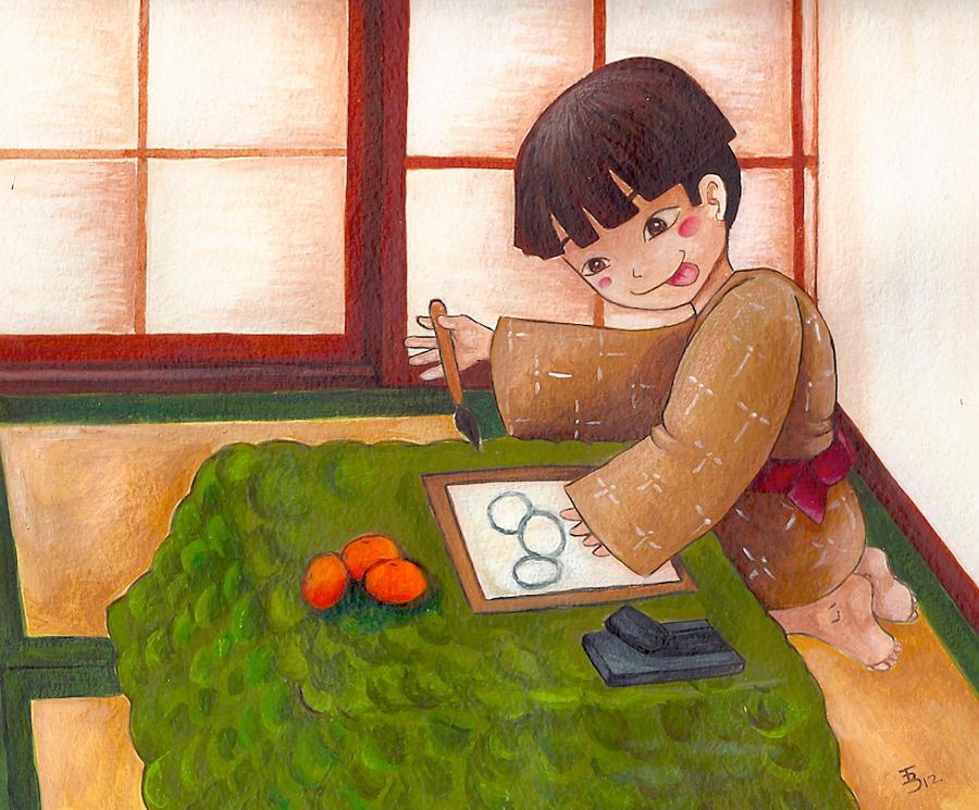 Scene of Hokusai life by uchuujinko