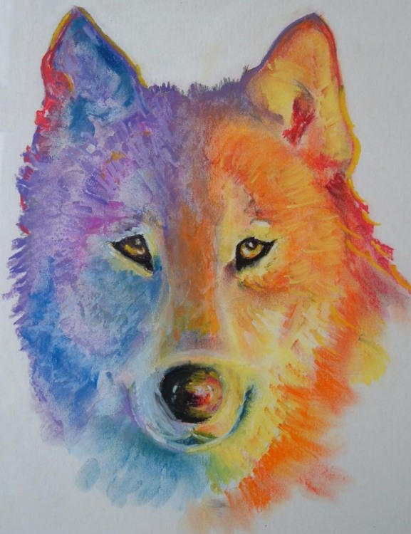 Trippy wolf painting - photo#8