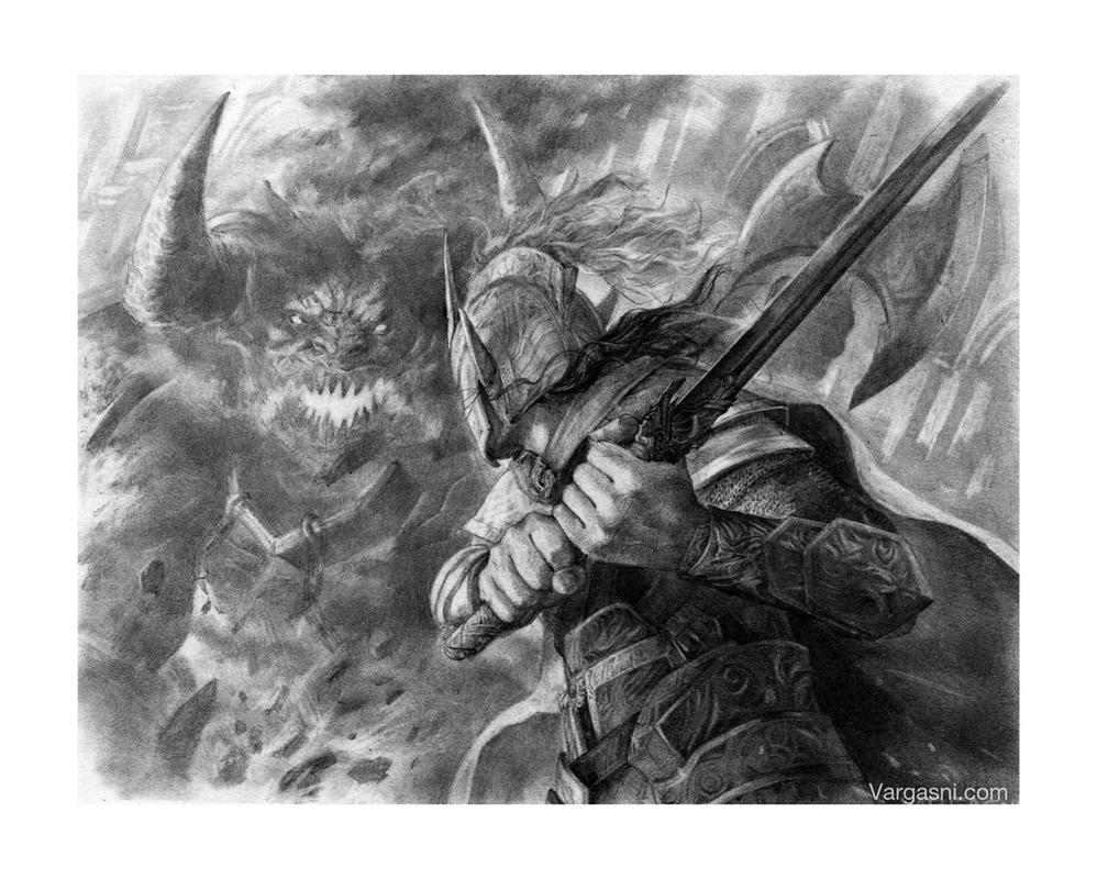 Ecthelion fighting Gothmog by VargasNi
