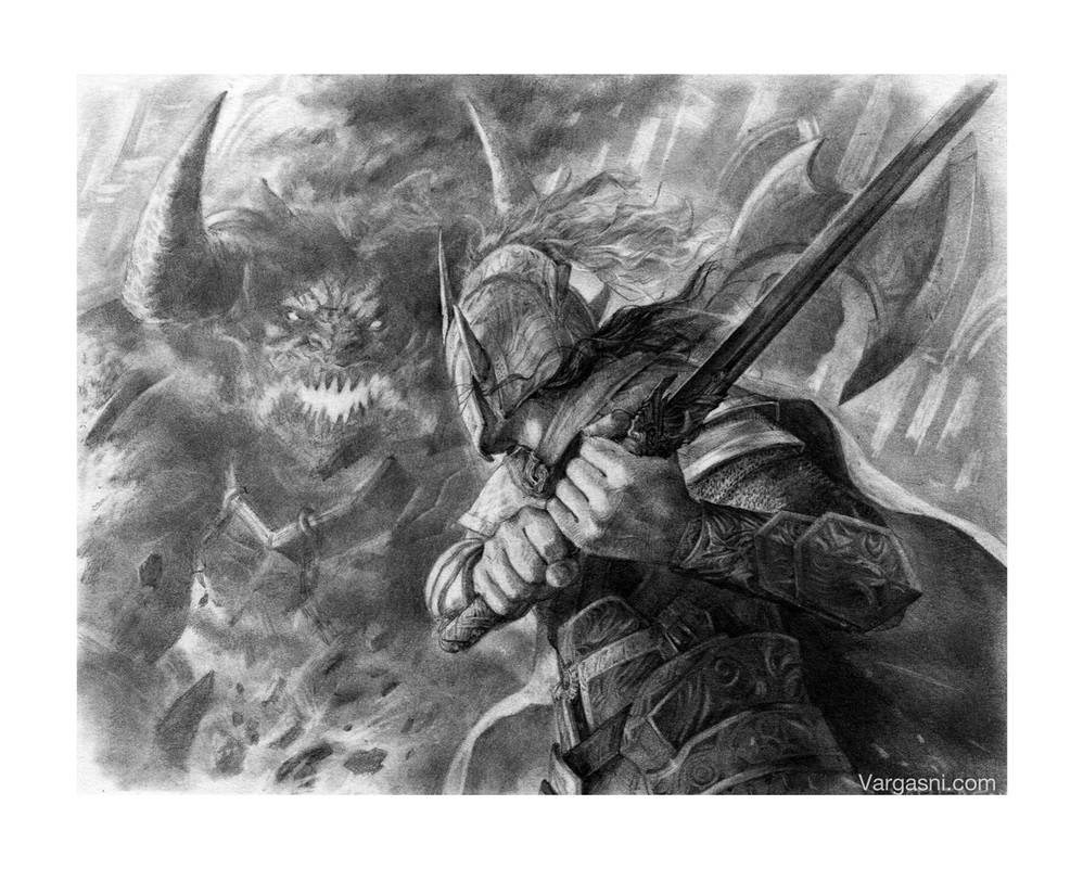Ecthelion fighting Gothmog by VargasNi
