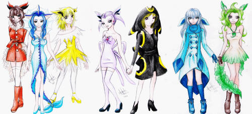 Eeveelutions gijinka by kugutsue