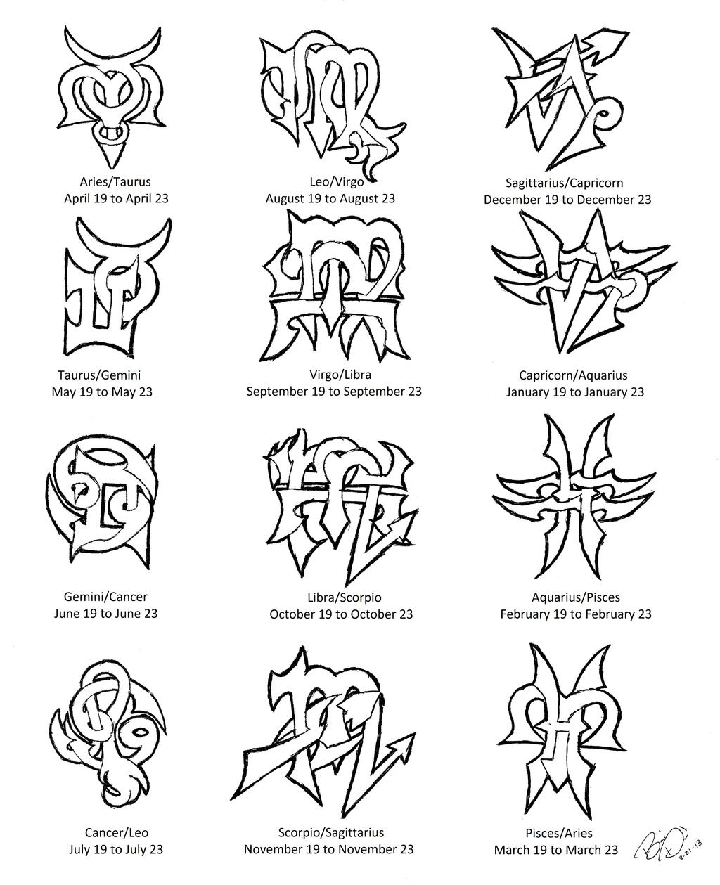 Zodiac cusps tattoo designs by wolfrunner6996 on deviantart for Tattoo horoscope signs