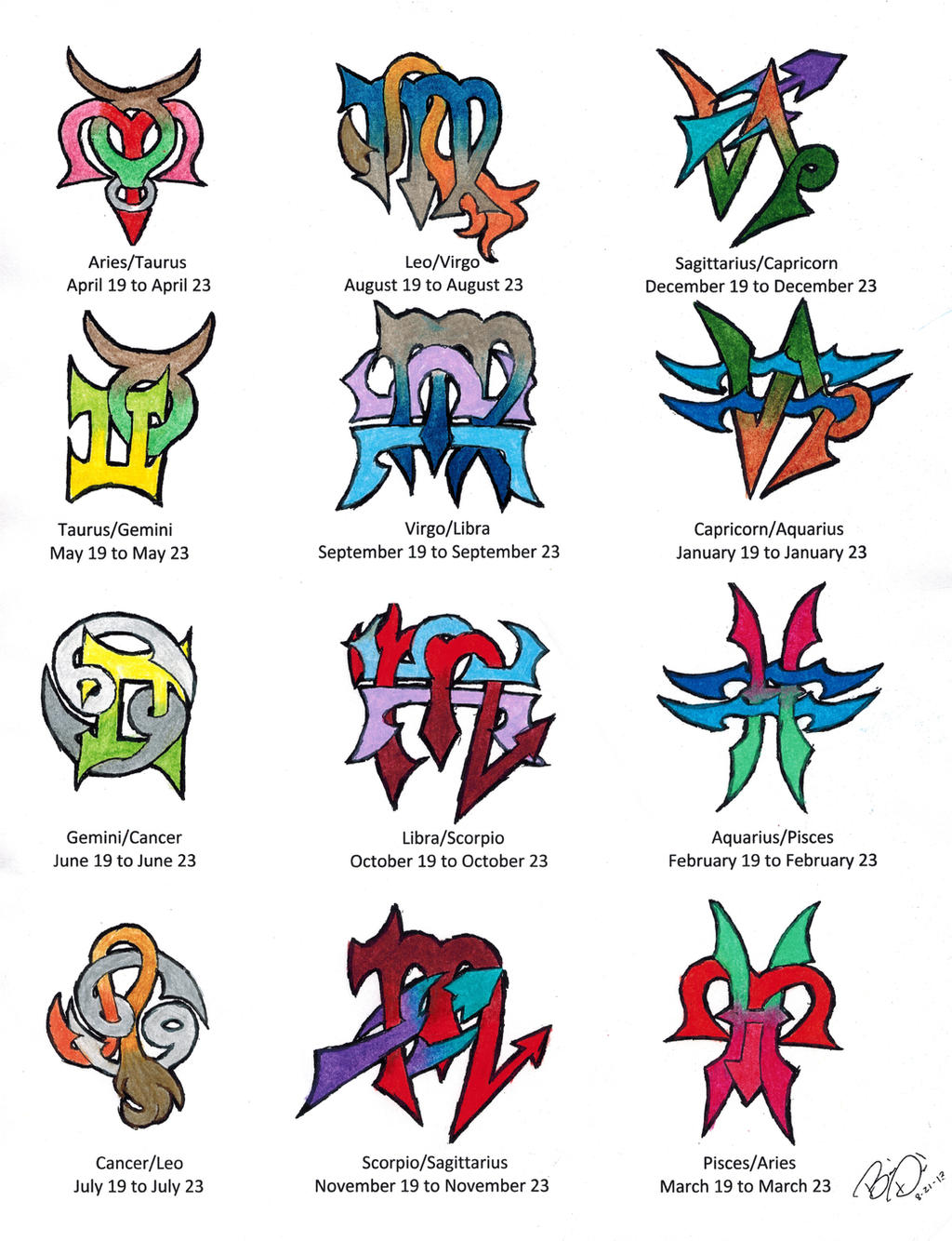 Zodiac Cusps Tattoo Designs, Colored by Wolfrunner6996 on