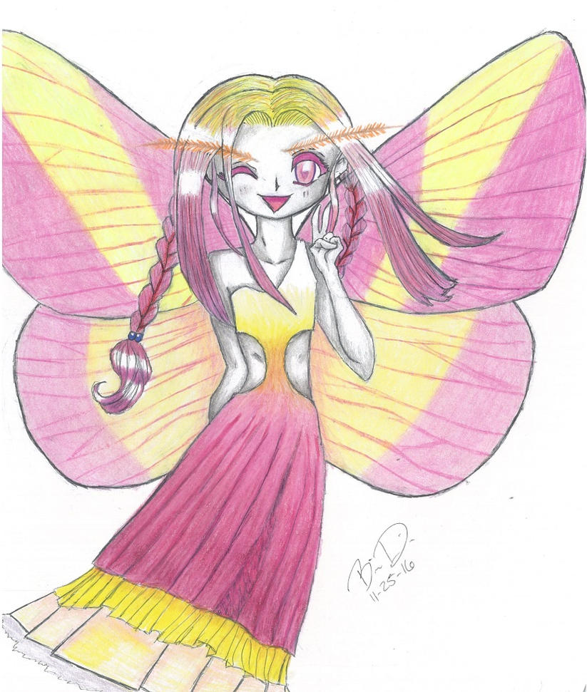 Rosy Maple Moth Fairy by Wolfrunner6996
