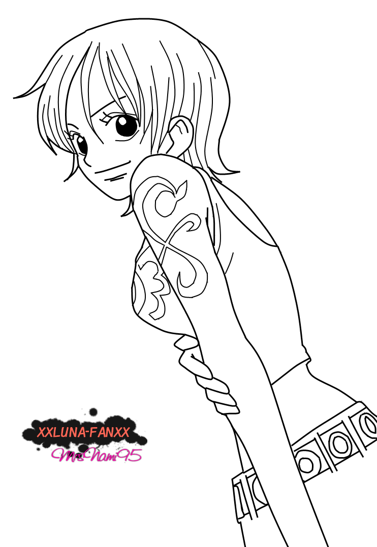 Nami Lineart : Nami lineart by xxluna fanxx on deviantart