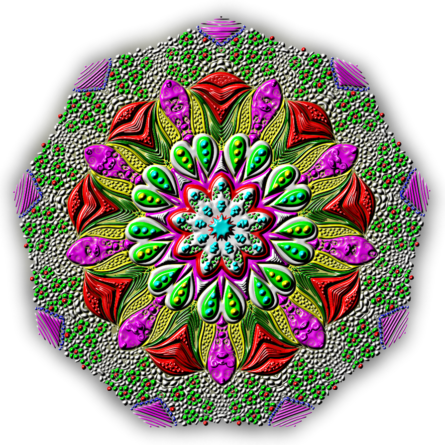 Peacock Feathers Mandala by Kat Ahrens (Coloured) by Silverstroller1