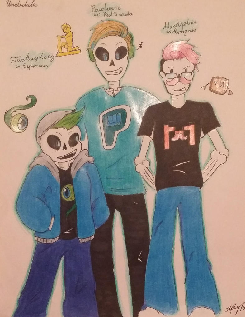 Markiplier, Jacksepticeye and Pewdiepie Undertale by stephanieshadowmarie