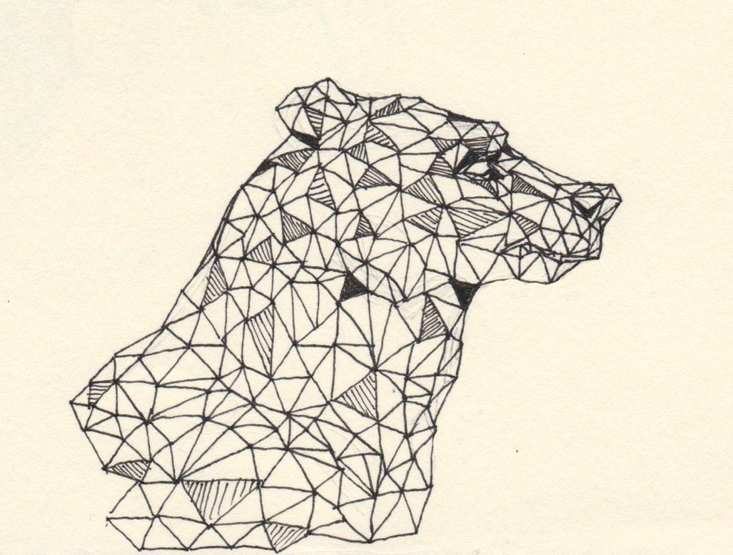 One Line Art Bear : Bear line drawing