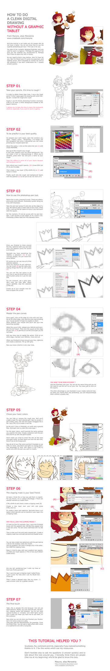 Tutorial, How to draw without a graphic tablet by Menestria