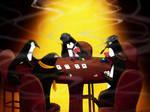 Penguins Playing Poker