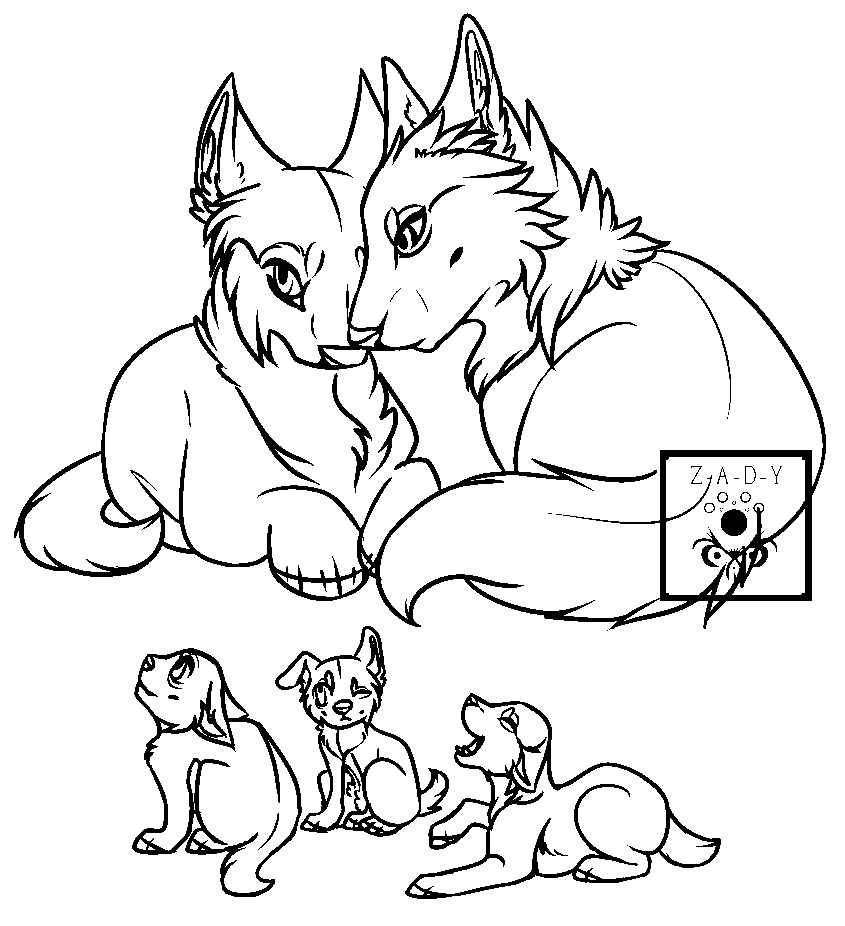 Line Art Painting : Wolf family lineart ms paint pixshark images