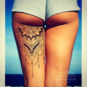 Back thigh tattoo design render