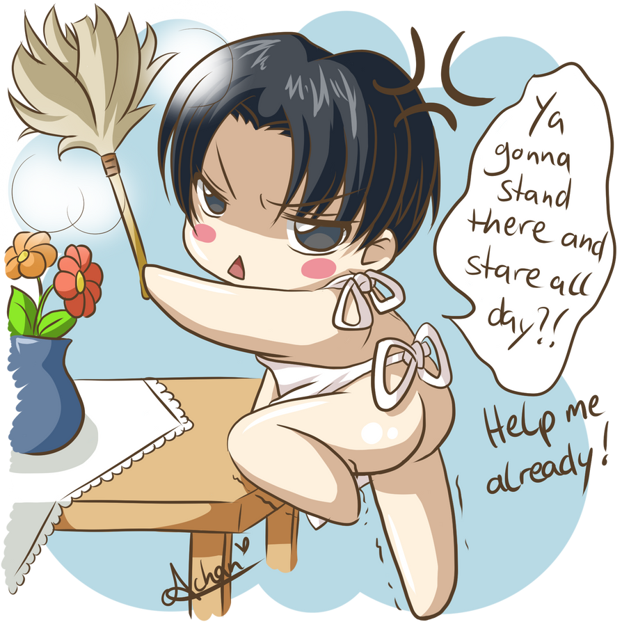 Levi doing housework by uke-a-chan