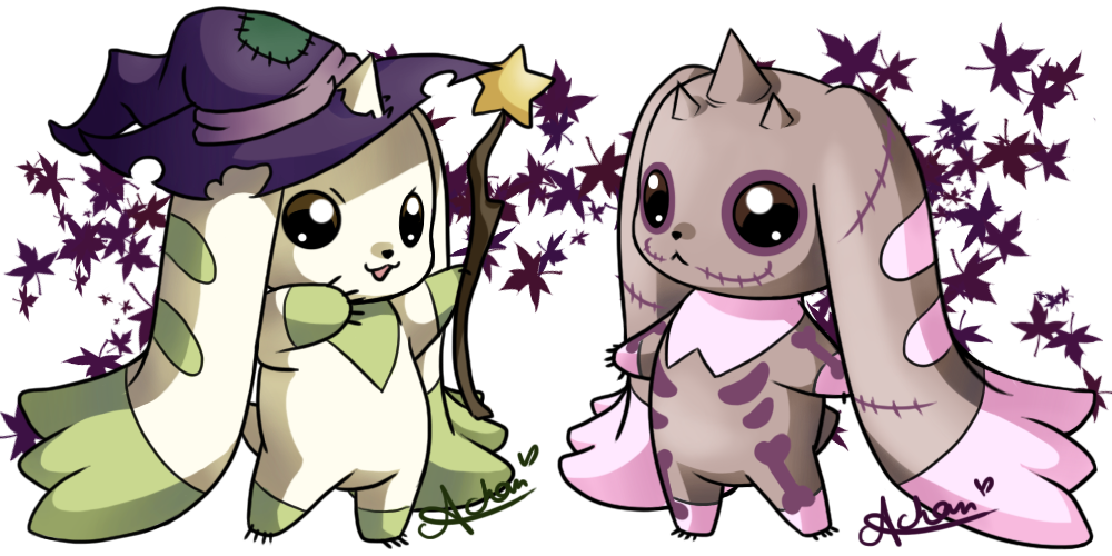Halloween Terriermon and Lopmon by uke-a-chan