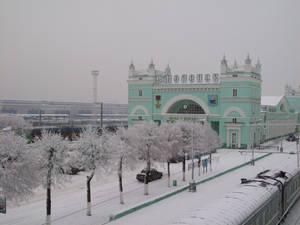 Snowy railway station